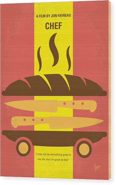 No524 My Chef Minimal Movie Poster Wood Print