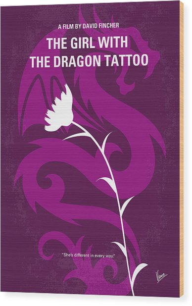No528 My The Girl With The Dragon Tattoo Minimal Movie Poster Wood Print