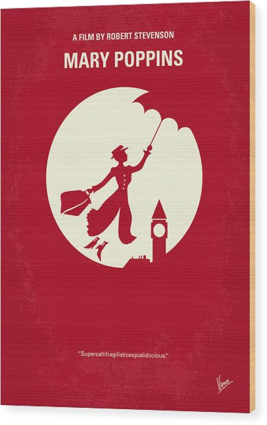 No539 My Mary Poppins Minimal Movie Poster Wood Print