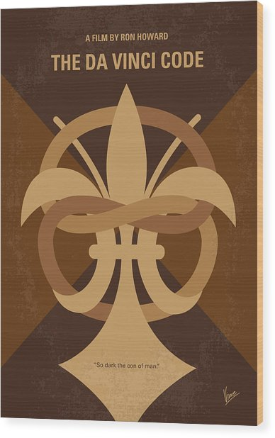 No548 My Da Vinci Code Minimal Movie Poster Wood Print