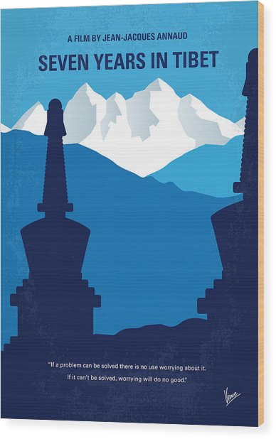No559 My Seven Years In Tibet Minimal Movie Poster Wood Print