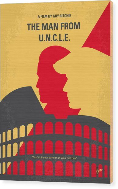 No572 My Man From Uncle Minimal Movie Poster Wood Print