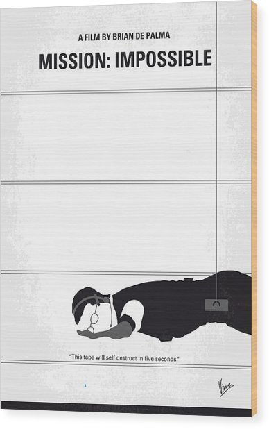 No583 My Mission Impossible Minimal Movie Poster Wood Print