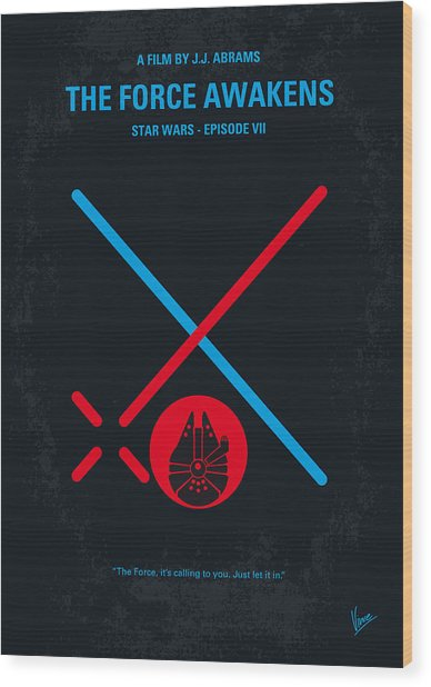 No591 My Star Wars Episode Vii The Force Awakens Minimal Movie Poster Wood Print