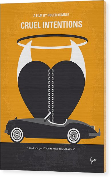 No635 My Cruel Intentions Minimal Movie Poster Wood Print