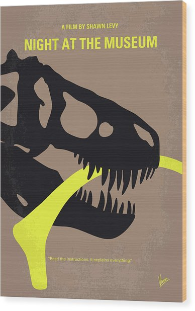 No672 My Night At The Museum Minimal Movie Poster Wood Print