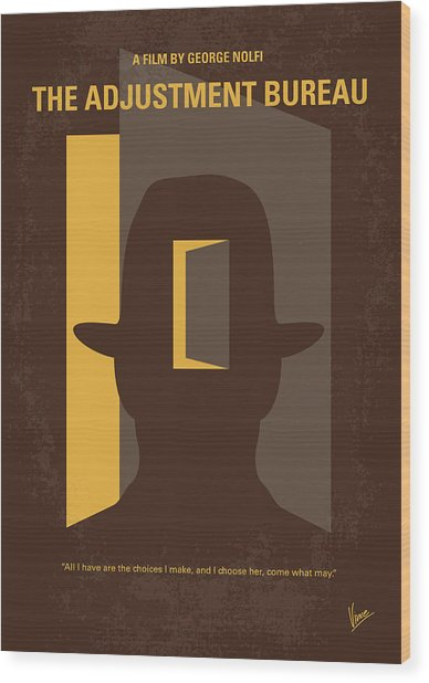 No710 My The Adjustment Bureau Minimal Movie Poster Wood Print