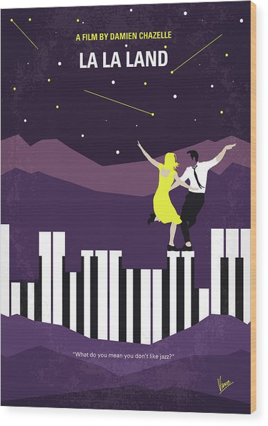 No756 My La La Land Minimal Movie Poster Wood Print