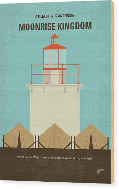 No760 My Moonrise Kingdom Minimal Movie Poster Wood Print