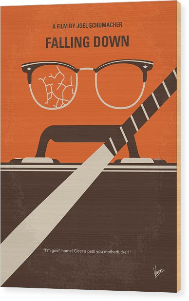 No768 My Falling Down Minimal Movie Poster Wood Print