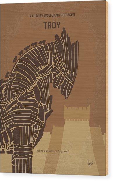 No862 My Troy Minimal Movie Poster Wood Print