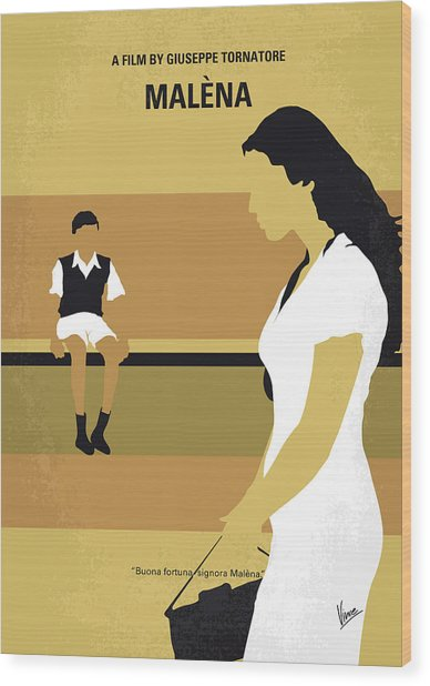 No870 My Malena Minimal Movie Poster Wood Print