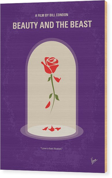 No878 My Beauty And The Beast Minimal Movie Poster Wood Print