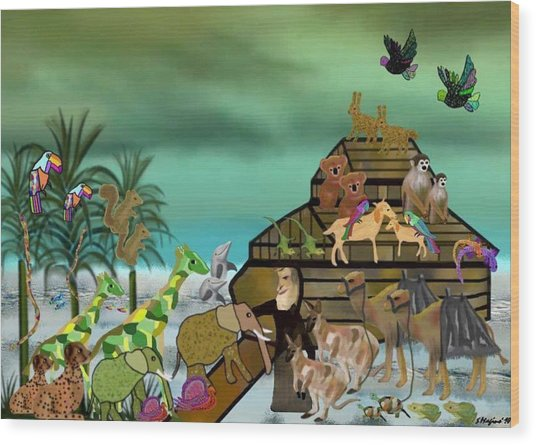 Noah's Ark Wood Print by Sher Magins