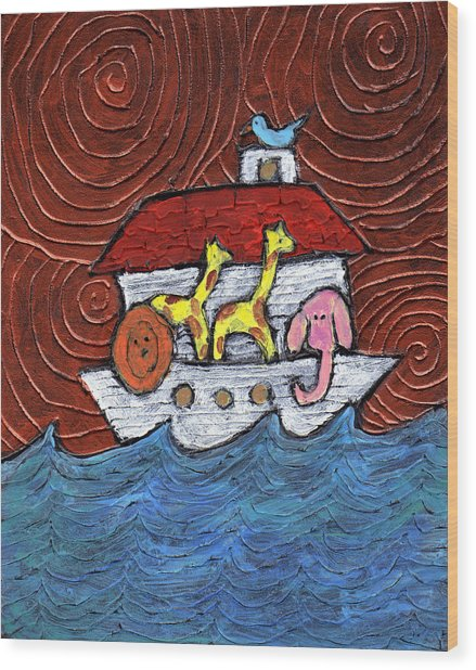 Noahs Ark With Blue Bird Wood Print