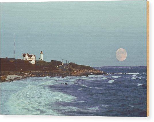 Nobska Point And Moon Wood Print