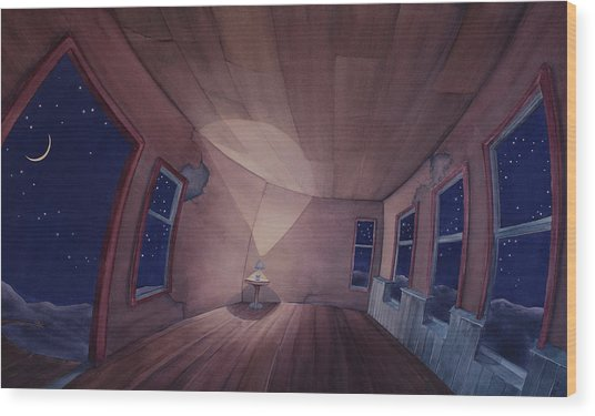 Wood Print featuring the painting Nocturnal Interior by Scott Kirby