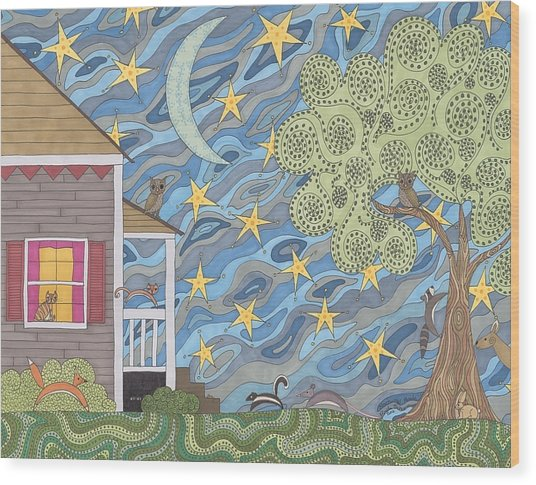 Nocturnal Parade Wood Print