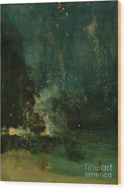 Nocturne In Black And Gold - The Falling Rocket Wood Print