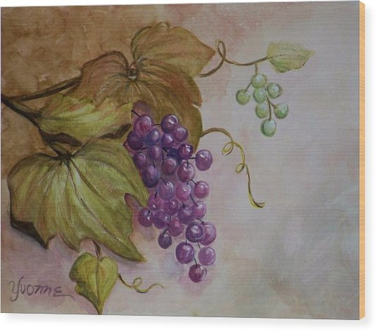Nonnie's Grapes Wood Print by Yvonne Kinney