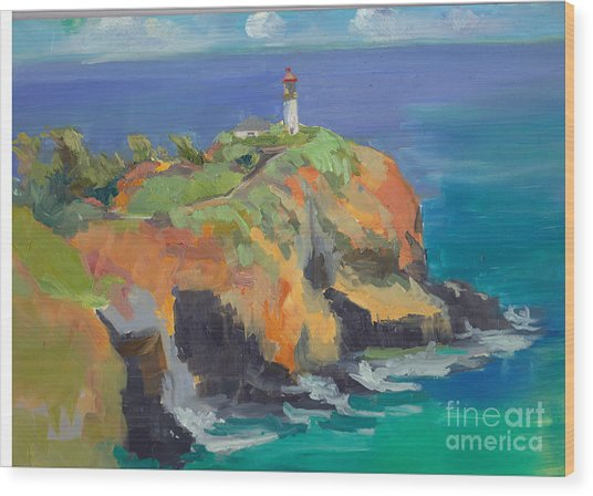 Noon Lighthouse Wood Print by Cynthia Riedel