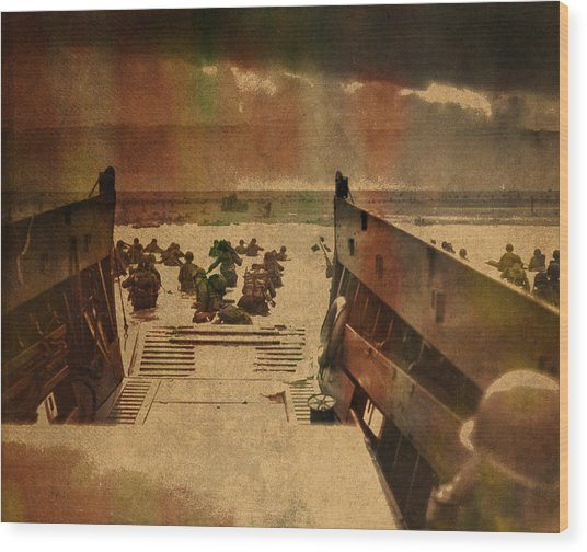 Normandy Beach On Dday World War Two Watercolor Tinted Historical Photograph On Worn Canvas Wood Print