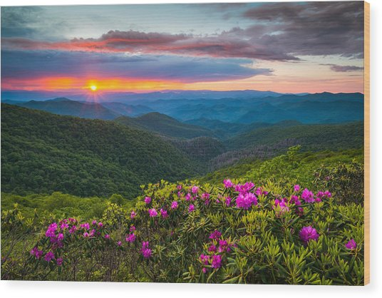 North Carolina Blue Ridge Parkway Landscape Craggy Gardens Nc Wood Print