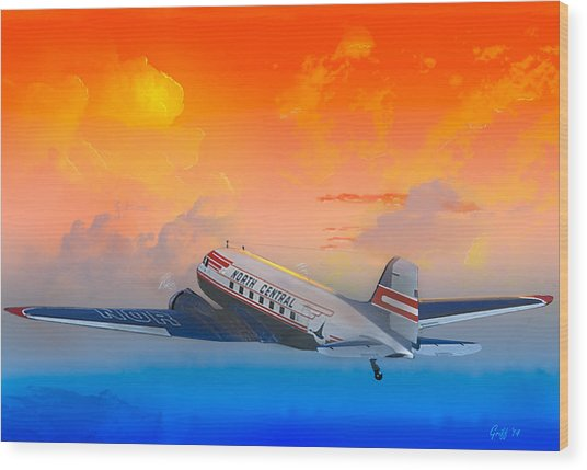 North Central Dc-3 At Sunrise Wood Print