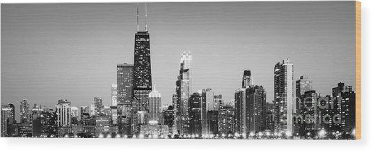 North Chicago Skyline Gold Coast Panorama Wood Print