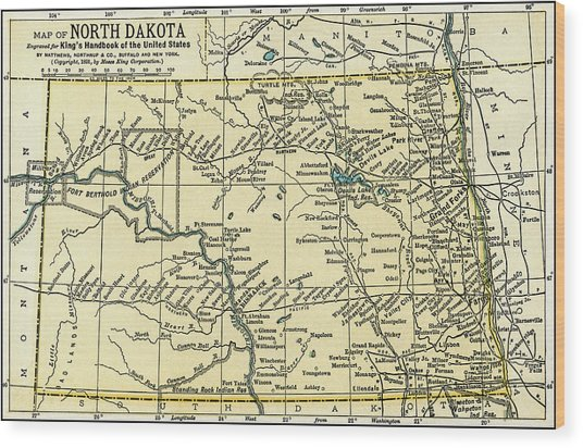 North Dakota Antique Map 1891 Wood Print