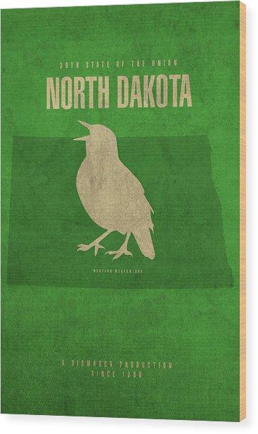North Dakota State Facts Minimalist Movie Poster Art Wood Print