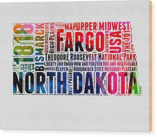 North Dakota Watercolor Word Cloud  Wood Print