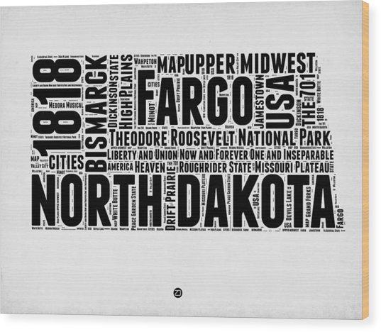 North Dakota Word Cloud 2 Wood Print