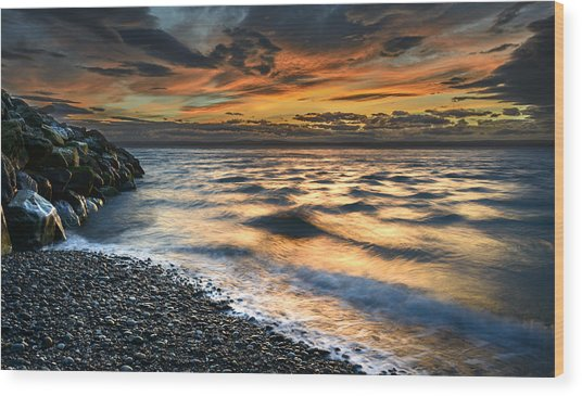 North Jetty Sunset Wood Print