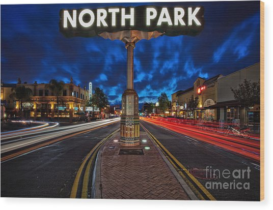 North Park Neon Sign San Diego California Wood Print