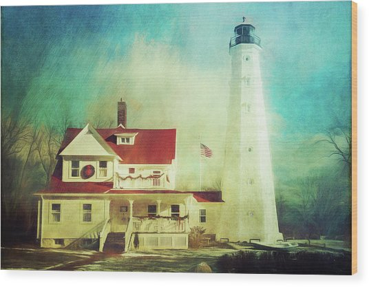 North Point Lighthouse Keeper's Quarters Wood Print