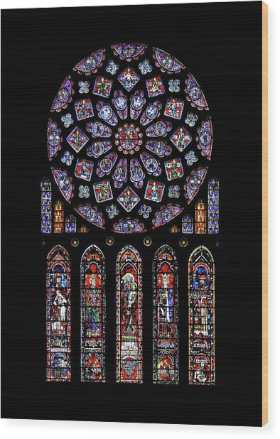 North Rose Window Of Chartres Cathedral Wood Print