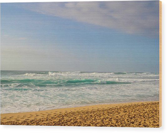 North Shore Waves In The Late Afternoon Sun Wood Print