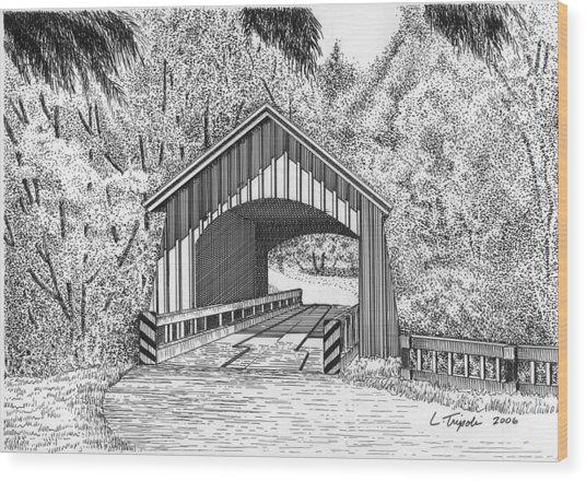 North Yachats Covered Bridge Wood Print