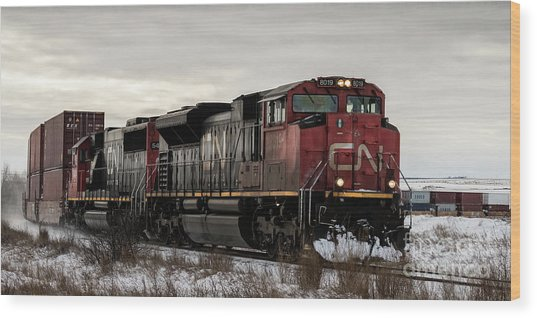 Wood Print featuring the photograph Northbound Double Stack by Brad Allen Fine Art