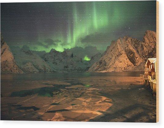 Northern Light In Lofoten, Nordland 1 Wood Print