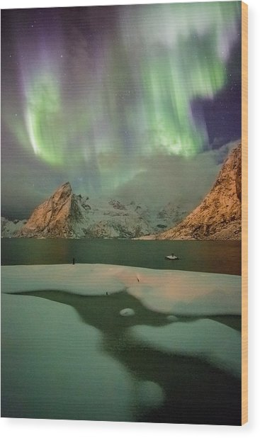 Northern Lights Above Olstinden Wood Print
