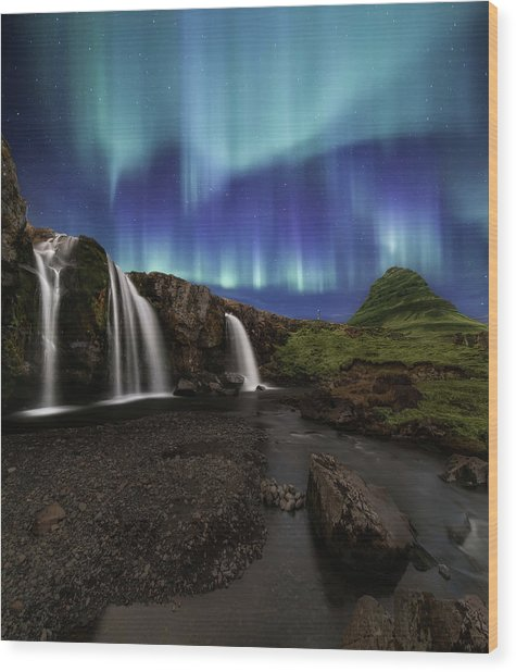 Northern Lights At Kirkjufellsfoss Waterfalls Iceland Wood Print