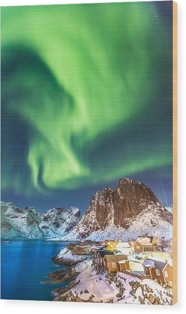 Northern Lights In Hamnoy Wood Print