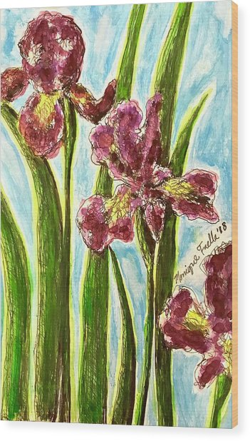 Nostalgic Irises Wood Print