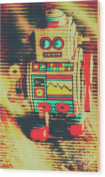 Nostalgic Tin Sign Robot Wood Print