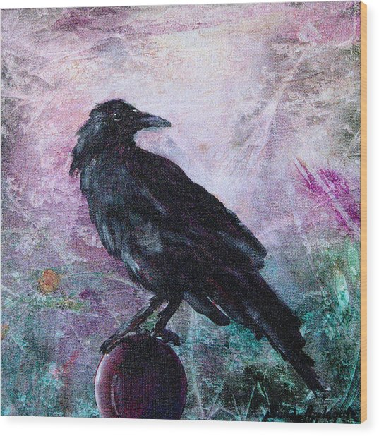 Not A Feather Then He Fluttered Wood Print by Sandy Applegate