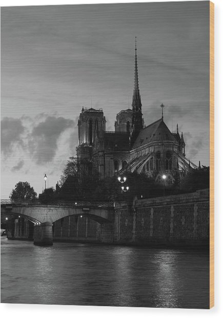 Notre Dame By Night Wood Print