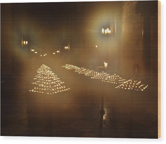 Notre Dame Candles Wood Print