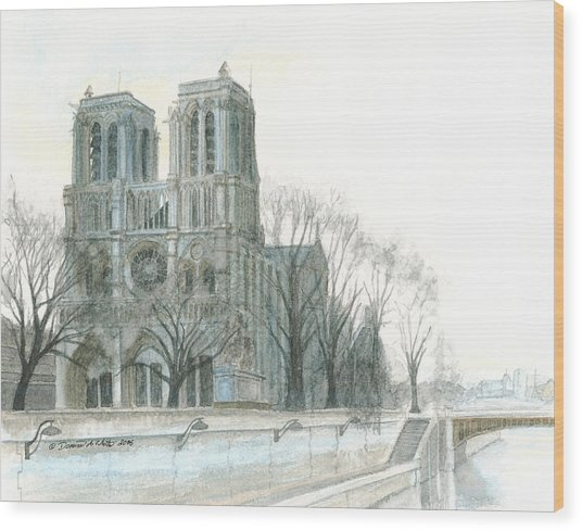 Notre Dame Cathedral In March Wood Print